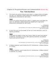 Chapter 03 The Judicial Process and Cyberprocedure Answer Key