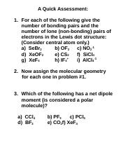 A Quick Assessment on Bonding and Polarity