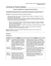 Week Five Health Care Financial Terms Worksheet