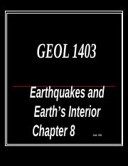 1403 Ch. 8 Earthquakes & Earth's Interior PP.ppt
