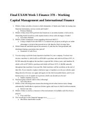 Final EXAM Week 5 Finance 370