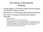 The Cultures of Biomedicine (1)