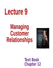 ServicesMarketingLecture9 Customer Relationships