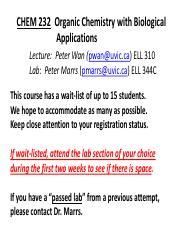 Fabriksnye CHEM 232 : ORGANIC CHEMISTRY - University of Victoria - Course EJ-44