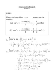L8 - Trigonometric Integrals