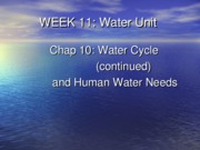 Week 11 Water Cycle (continued) and Human Water Needs