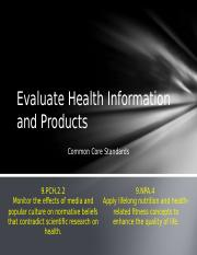 M2L3 Evaluate Health Information and Products.ppt