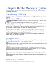 Chapter 16 The Monetary System