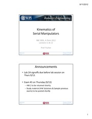 RBE3001-2012A-11and-SerialManipKinematics - ClassSlides