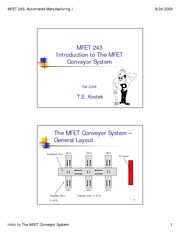 Intro to MFET Conveyor System Fall 09