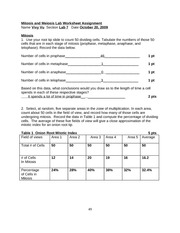 BIO LAB Worksheet Mitosis and Meiosis - Mitosis and Meiosis Lab ...