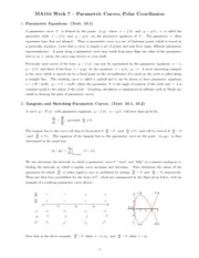 Chapter 6 : parametric curves class notes