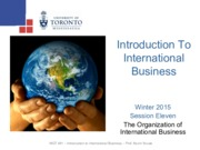 MGT 491- Organization of International Business - Winter 2015