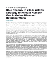 Blue Nile Inc. in 2010 Will Its Strategy to Remain Number One in Online Diamond Retailing Work