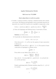 Applied Mathematical Models MTT 2009