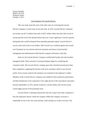Essay on Lincoln Electric