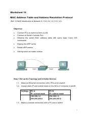 Worksheet10 Switch MAC Table ARP