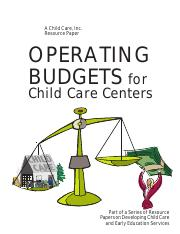 OperatingBudgets-Child Care Inc publication