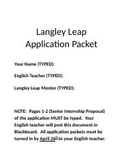 Langley Leap Application Forms 2016