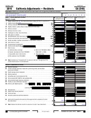 California Adjustments Residents SCHEDULE CA 540 TAXABLE