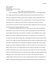 Comp II Free College Argument Paper Final Draft