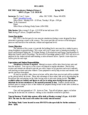 Biological Science I Syllabus Spring 2010 Final
