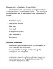 Characteristics of Qualitative Research Notes