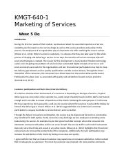 KMGT 643 Marketing of Services - Week 5 DQ