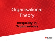 Topic 8 - Semester 2 (2015) Inequality in Organisations