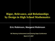 Rigor, Relevance, and Relationships by Design