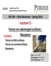 Lecture 5 - Forces on submerged surfaces. Buoyancy - instructor
