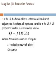 Long Run (LR) Production Function