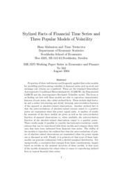 Stylized Facts of Financial Time Series and Three Popular Models of Volatility