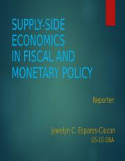 SUPPLY SIDE ECONOMICS REPORT -FOR REPORTING TODAY SEPT 24