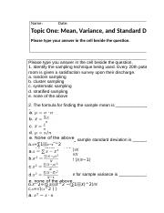 Mean, Variance and Standard Deviation Excel Worksheet.xlsx