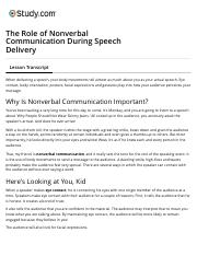 The Role of Nonverbal Communication During Speech Delivery - Video & Lesson Transcript | Study.com.p