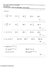 Exponential and Logarithmic Equation Study Guide