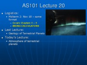 AS101 Lecture 20