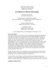 Introduction to Cultural Anthropology - Course Syllabi