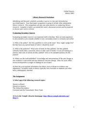 Library Research Worksheet