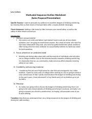 Motivated  Sequence Outline Worksheet Levi Johns