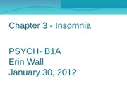 Chapter 3 - Insomnia powerpoint