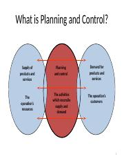 What is Planning and Control