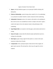 Agency Formation Terms Study Guide