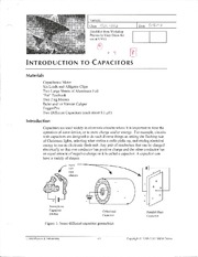 Introduction to Capacitors Lab 4 Physics 152L