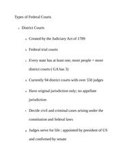 Types of Federal Courts Class Notes