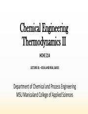 Chem Eng Thermodynamics II- Lecture 01