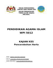 Deb 1152 Laporan Docx Kolej Vokasional Datuk Seri Mohd Zin Jalan Pengkalan 78000 Alor Gajah Melaka Pendidikan Agama Islam Wpi 5012 Kajian Kes Course Hero