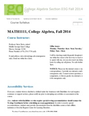 Course Syllabus - College Algebra Section 03G Fall 2014 CO