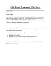 respond to a writing prompt thesis statement worksheet  other related materials